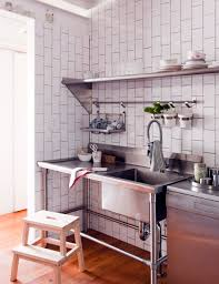 kitchen style industrial kitchen design open shelves stainless industrial kitchen design open shelves stainless steel sink hardwood flooring subway tile backsplash