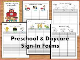 Daycare Sign In Sheet Template Daycare Parent Package Pinteres