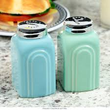 retro kitchen decor and 1950 kitchen tables and accessories at 1950s salt and pepper shakers in blue and green