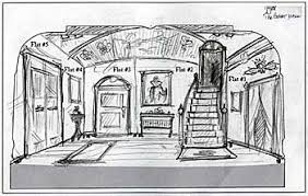 original concept drawing for the canterville ghost set by jeff