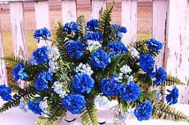 blue carnations artificial fathers day cemetery memorial grave silk flowers blue