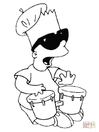 bart is playing on drums coloring page free printable coloring pages