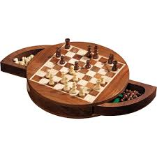 philos magnetic round wood chess set 19mm field 2729