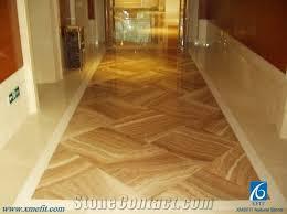 design project of wood grain yellow marble cross cut floor tiles