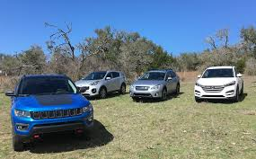 subaru jeep 2017 2017 jeep compass vs hyundai tucson vs subaru crosstrek vs kia