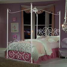 Iron Canopy Bed Frame Twin Metal Canopy Bed With Clear Post Finials By Standard