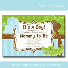 serene blue and green baby shower invitations template with cute