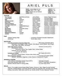 Resume Acting Template Acting Cv 101 Beginner Resume Example Tem Peppapp