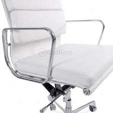 White Leather Office Chair Eames Style Office Chair Low Back Soft Pad White Leather
