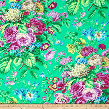 Large Floral Print Curtains Kaffe Fassett Floral Delight Green Discount Designer Fabric