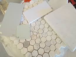 grey subway tile shower honeycomb marble floors subway tile