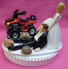 wedding cake topper atv 4 wheeler w bridal garter off road