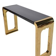 black entry hall table console table chunky console table in gold and black intended for