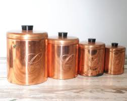 copper kitchen canister sets kitchen canister set etsy