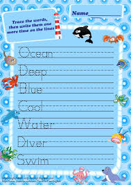 Handwriting Worksheets 4th Grade Sea Animals Trace Words Worksheets For Kids Ocean Vocabulary