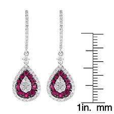 ruby drop earrings pear shape diamond and ruby earrings for women drop design 14k