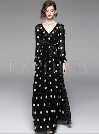 maxi dress dot print v neck maxi dress ezpopsy