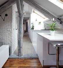 Attic Apartment 60 Sqm Modern Attic Apartment Design Idea With White Grey Interior