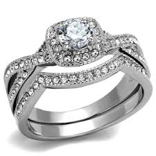 Wedding Rings Sets For Women by Artk2296 Stainless Steel Round Cut 81 Ct Zirconia Halo Wedding