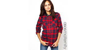 Maternity Plaid Shirt Pepe Jeans Asos Maternity Shirt With Pu Collar In Brushed Check In