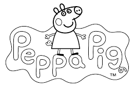 logo color peppa pig cartoon kids pages free coloring