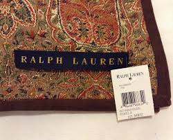 Ralph Lauren Blankets Paisley Red Gold Throw Blanket With Brown Suede Border Ralph