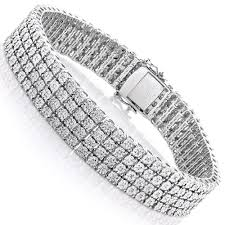 sterling silver bracelet with diamond images Sterling silver bracelets 4 row diamond bracelet 0 63ct jpg