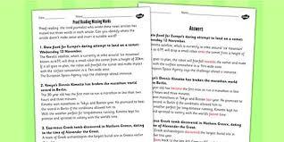 proof reading missing words using newspaper articles worksheet