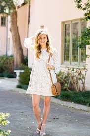 white lace bell sleeve dress brightontheday