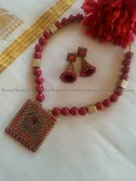 red and orange terracotta jewelry terracotta necklace set