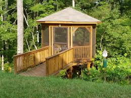 Gazebo Screen House by Wood Screened Gazebo With Walking Bridge Archadeck Outdoor Living