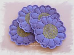 design embroidery in the hoop ith felt flower coaster machine embroidery design