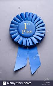 pleated ribbon blue pleated ribbon chionship rosette for place with gold