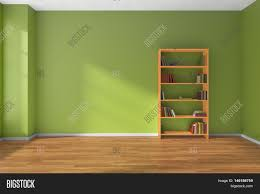 Interior Green Empty Room With Green Wall Wooden Parquet Floor And Wooden