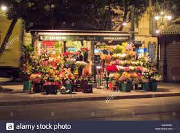 flower shop outdoor flower shop at on median in malaga spain stock photo
