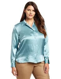 womens silk blouses pendleton s plus size silk charmeuse blouse aquamarine 22w