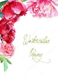 Family Day Invitation Card Invitation Card Pink And Red Watercolor Peonies U2014 Stock Photo