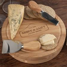 personalized cheese board set personalised wooden cheeseboard set card factory