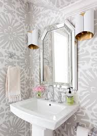 Powder Room With Pedestal Sink White And Gray Powder Room With Pedestal Sink Transitional