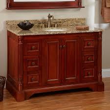 Red L Shaped Vanity Cabinet Cherry Finish Vanity Signature Hardware