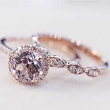 morganite wedding set shop pink morganite gold wedding set on wanelo