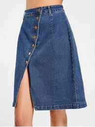denim skirt slit button up denim skirt denim blue skirts xl zaful