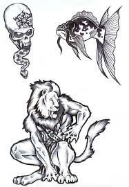 men lion fish and skull tattoo ideas central