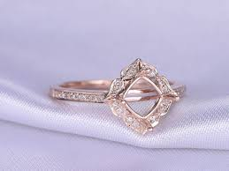 6mm cushion cut engagement ring setting solid 14k rose gold