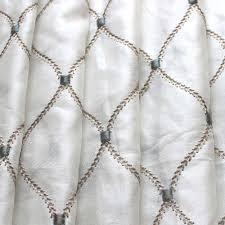 geometric diamonds stitch embroidery sheer curtain panels