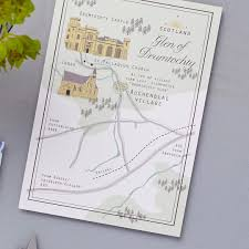 wedding stationery aberdeenshire custom map for beautiful wedding at the stunning drumtochty castle