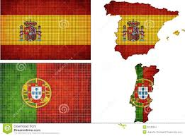 Portugal Spain Map by Set Of Maps And Flags Of Spain And Portugal Stock Vector Image