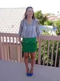 black u0026 white chevron blouse from kissmemint u0026 green skirt