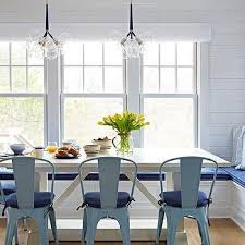 blue and white beach bungalow dining room design ideas