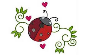 ladybug swirls free embroidery design